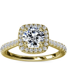 Cushion-Shaped Diamond Bridge Halo Diamond Engagement Ring in 14k Yellow Gold (1/3 ct. tw.)