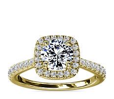 14k 黃金墊形鑽石橋飾光環鑽石訂婚戒指(1/3 克拉總重量)
