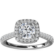 Cushion Diamond Bridge Halo Diamond Engagement Ring in Platinum (1/3 ct. tw.)