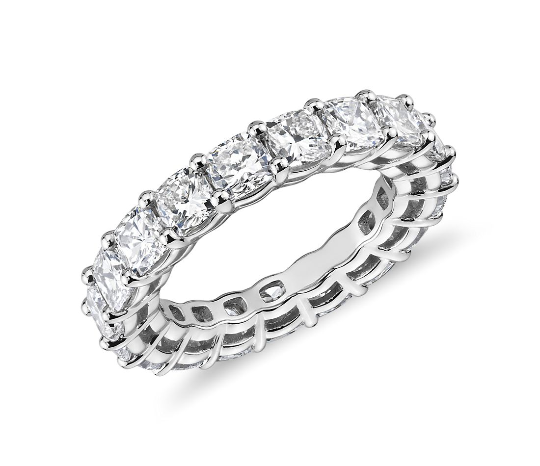 Cushion Diamond Eternity Ring in Platinum (5.35 ct. tw.)