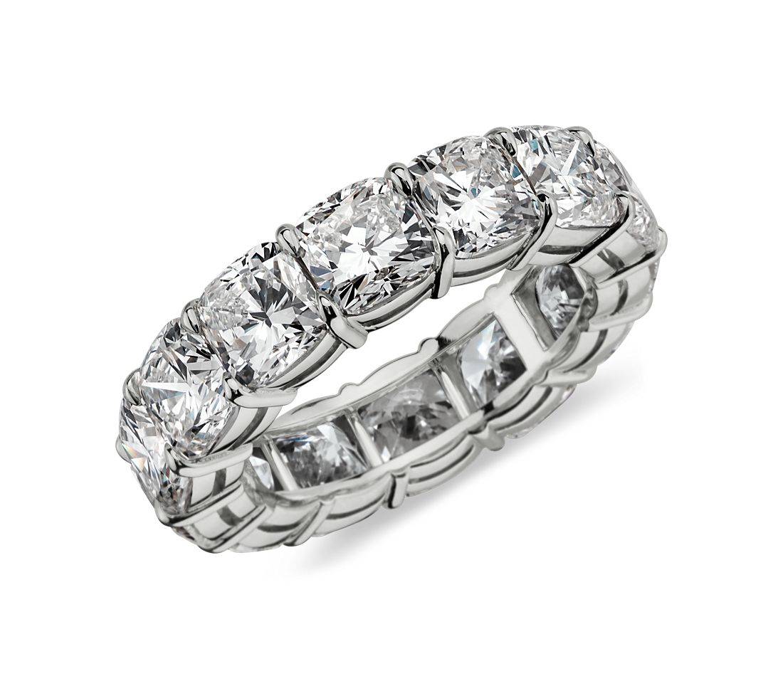 Cushion Cut Diamond Eternity Ring in Platinum (8 ct. tw.)
