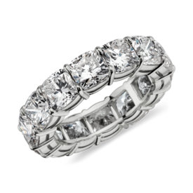 Cushion Cut Eternity Diamond Ring in Platinum (10 ct. tw.)