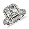 Modern Cushion and Pavé Diamond Halo Ring in 18k White Gold (4.74 ct. tw.)