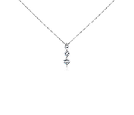 Cushion-Cut Three-Stone Diamond Pendant in Platinum (3/4 ct. tw)