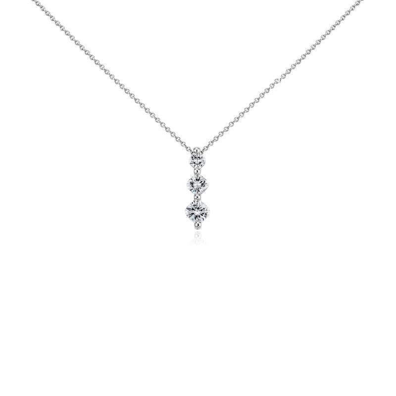 Cushion-Cut Three-Stone Diamond Pendant in Platinum (3/4 ct. tw)
