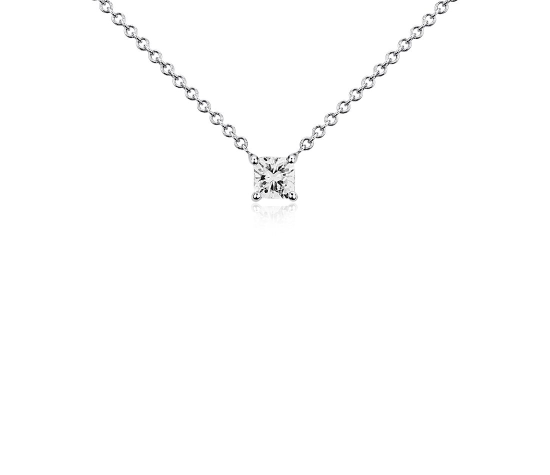 Cushion Diamond Solitaire Pendant in 14k White Gold (1/3 ct. tw.)