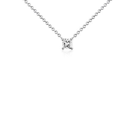 14k 白金 墊形鑽石單石吊墜<br>( 1/3 克拉總重量)
