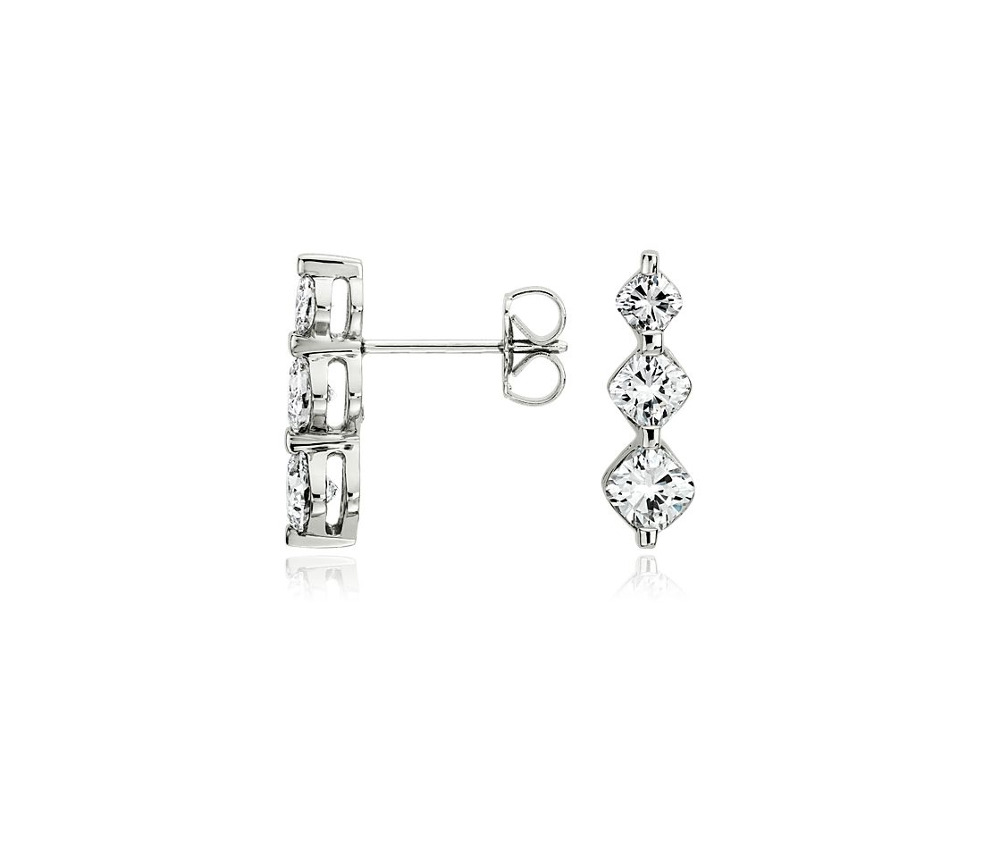 Cushion Cut Three Stone Diamond Earrings in Platinum (1 1/2 ct. tw.)