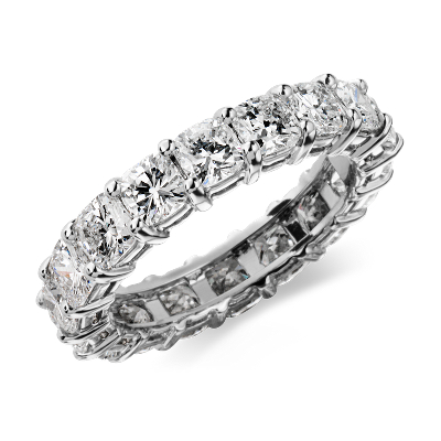 Cushion Cut Diamond Eternity Ring in Platinum (4 ct. tw.)
