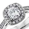 Cushion Micropavé Halo Diamond Ring in Platinum (1.37 ct. tw.)