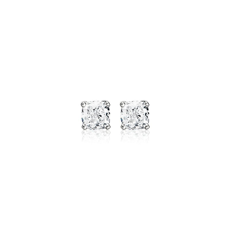 Cushion Diamond Stud Earrings in 14k White Gold - G/SI2 (2 ct. tw