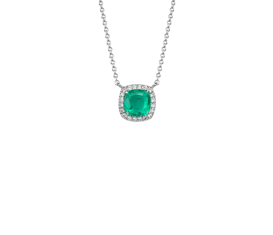 cushion cut emerald and pendant in 18k white gold