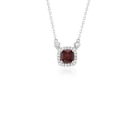 Cushion Garnet White Topaz Halo Pendant in Sterling Silver (6mm)