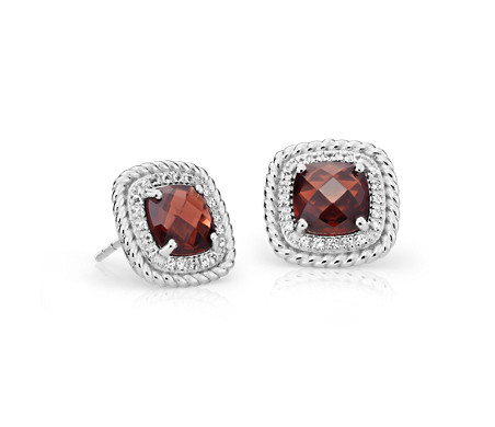 Corda Cushion-Cut Garnet Halo Earrings in Sterling Silver (8mm)