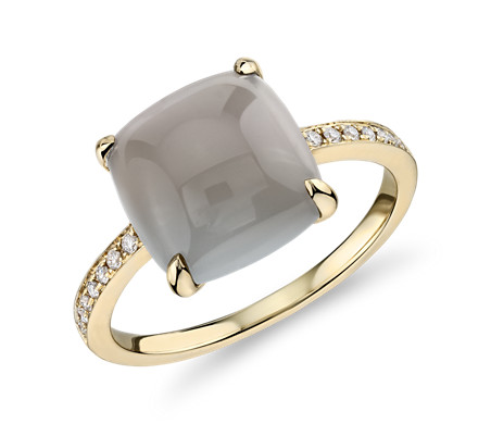Cushion Cut Grey Moonstone Cabochon Ring with Diamond Sidestones in 14k Yellow Gold (10mm)