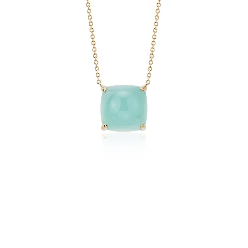 Cushion Cut Green Chalcedony Cabochon Pendant in 14k Yellow Gold