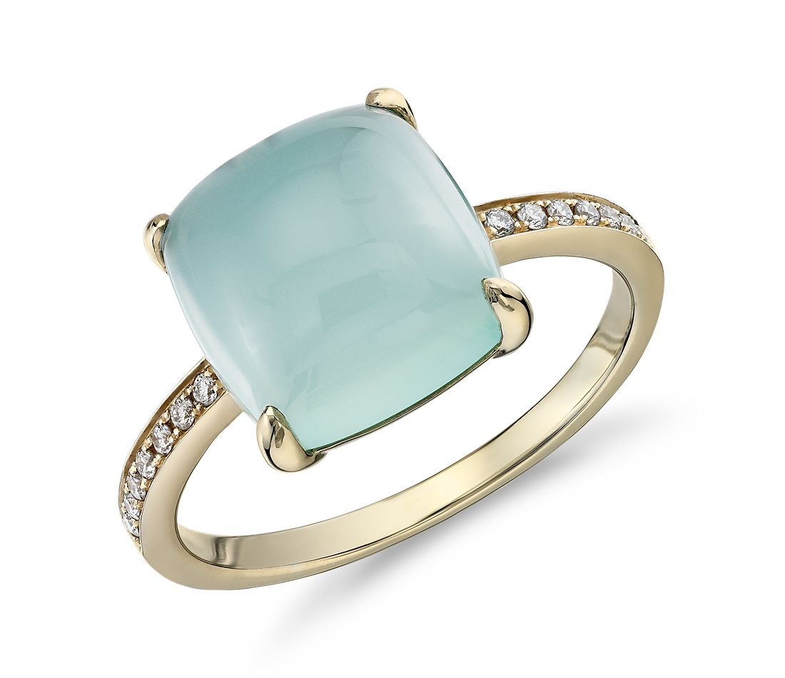 Cushion Cut Green Chalcedony Cabochon Ring With Diamond Sidestones In 14k Yellow Gold 10mm