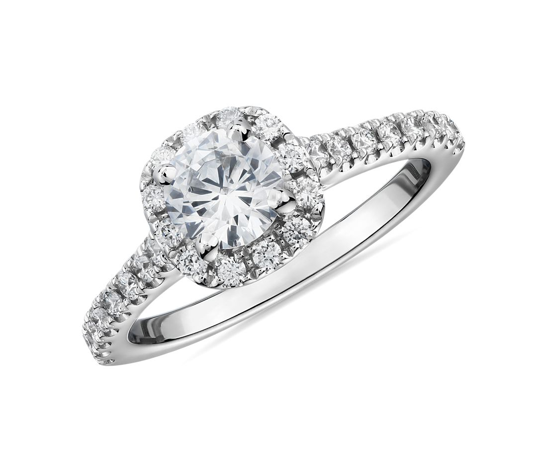 1/2 Carat Ready-to-Ship Cushion Halo Diamond Engagement Ring in 14k White Gold