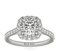 Bague de fiançailles halo de diamants taille coussin en or blanc 14carats