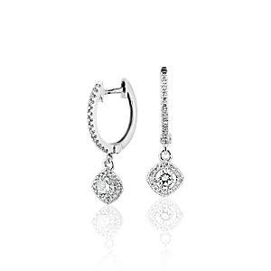 NOUVEAU Pendants d'oreilles halo de diamants taille coussin en or blanc 14carats (1/2carat, poids total)