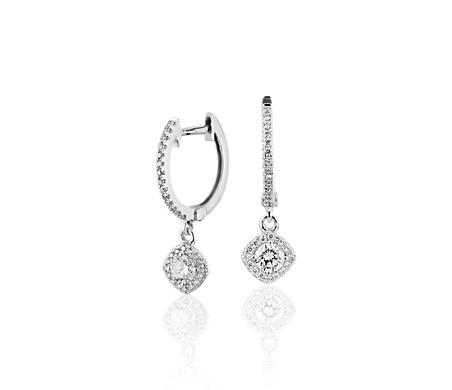 Créoles goutte halo de diamants taille coussin en or blanc 14carats (1/2carat, poids total)