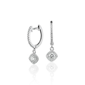 Cushion Halo Diamond Drop Hoop Earrings in 14k White Gold (1/2 ct. tw.)