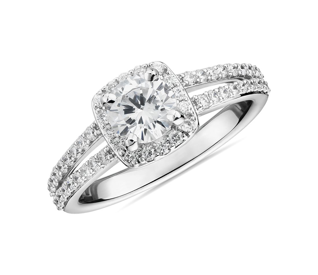 1/2 Carat Ready-to-Ship Split Shank Halo Diamond Engagement Ring in 14k White Gold