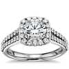 Split Shank Halo Diamond Engagement Ring in 14k White Gold