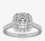 鉑金墊形切割光環鑽石訂婚戒指(1/3 克拉總重量)