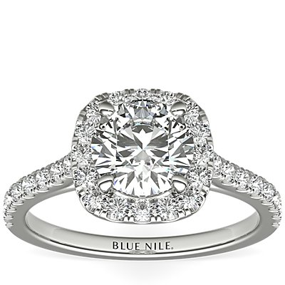 Cushion Halo Diamond Engagement Ring in Platinum (1/3 ct. tw.)