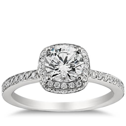 Halo Diamond Engagement Ring In Platinum Blue Nile