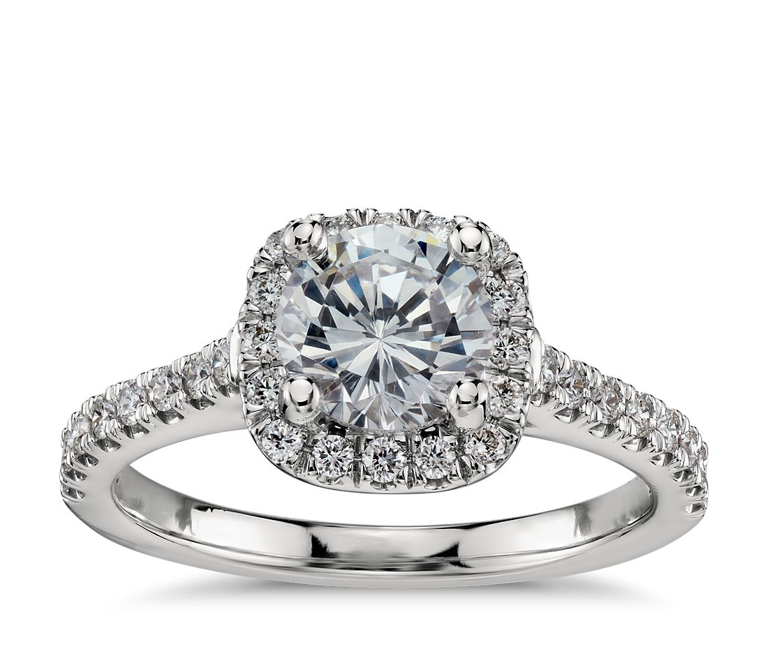 Cushion Halo Diamond Engagement Ring In Platinum 1 3 Ct Tw Blue