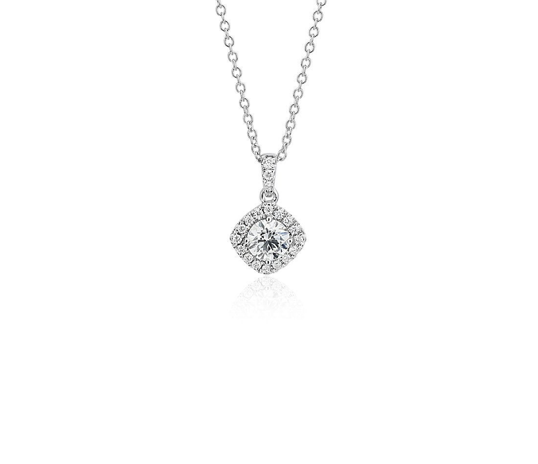 Cushion Halo Diamond Pendant in 14k White Gold (1/2 ct. tw.)