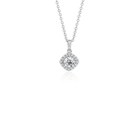 Cushion halo diamond pendant in 14k white gold 12 ct tw blue nile cushion halo diamond pendant in 14k white gold 12 ct tw aloadofball