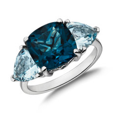 Cushion London Blue Topaz and Aquamarine Trillion Ring in 14k White Gold