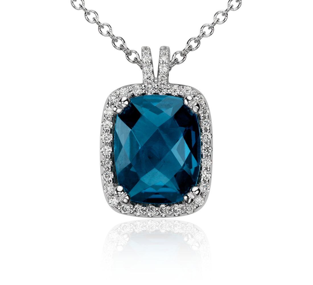 London Blue Topaz and Diamond Halo Cushion-Cut Pendant in 14k White Gold