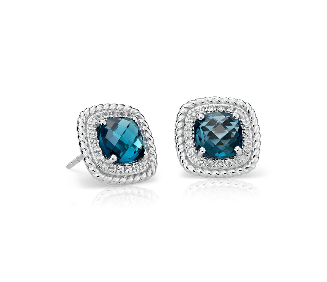 Corda Cushion-Cut London Blue Topaz Halo Earrings in 925 純銀 ( 8 毫米)