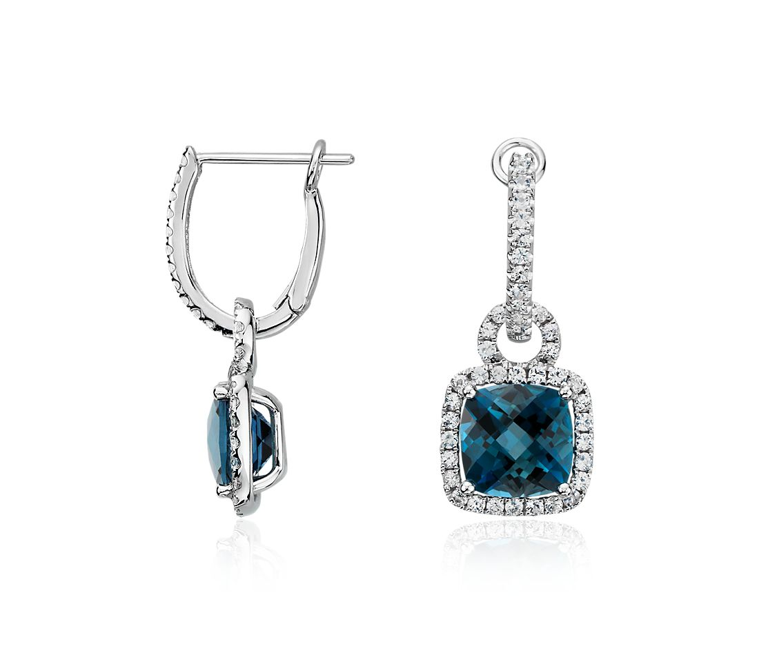 london blue topaz and white sapphire halo cushion cut drop