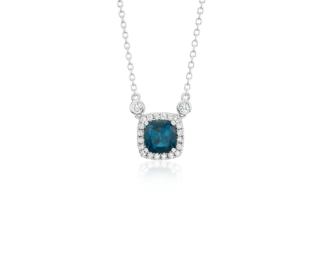 Cushion London Blue Topaz White Topaz Halo Pendant in Sterling Silver