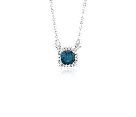 Cushion London Blue Topaz White Topaz Halo Pendant in Sterling Silver (6mm)