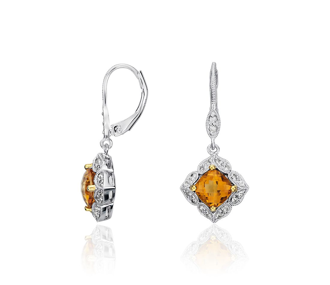 Madeira Citrine and White Sapphire Drop Earrings in Sterling Silver