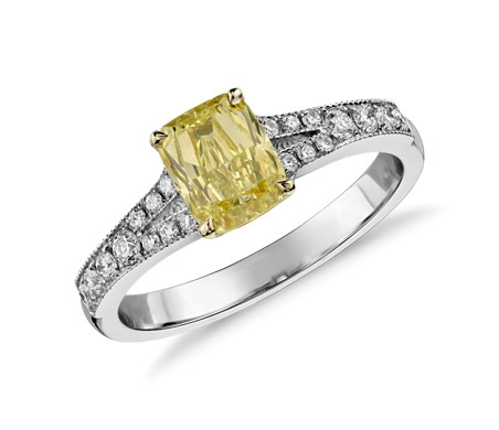 Fancy Yellow Cushion Diamond Ring in 18k White Gold (1.06 ct)
