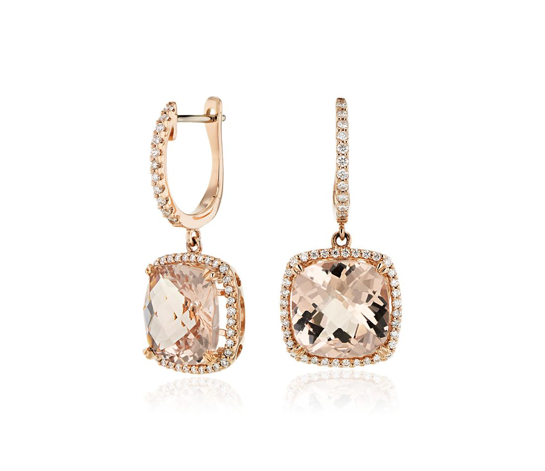 Cushion Cut Morganite and Diamond Halo Drop Earrings in 14k Rose Gold (9mm)