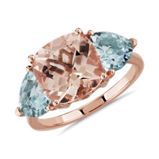 NEW Cushion Morganite & Trillion Aquamarine Ring 14k Rose Gold