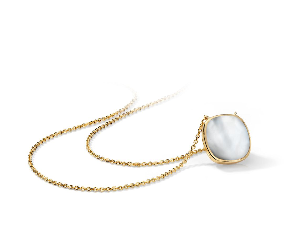 Cushion Mother of Pearl Necklace in Gold Vermeil