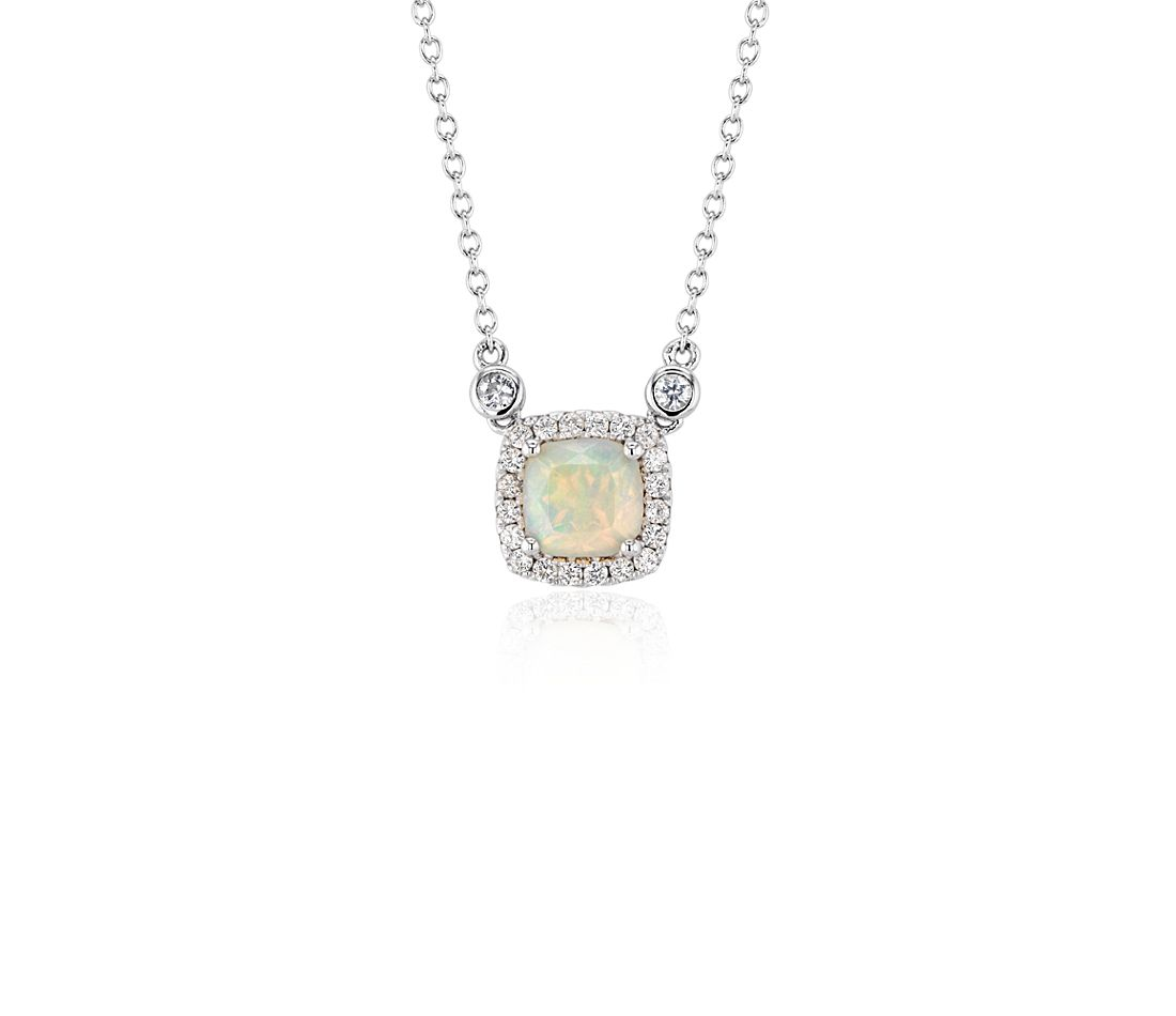 Cushion Opal Pendant White Topaz Halo in Sterling Silver (6mm)