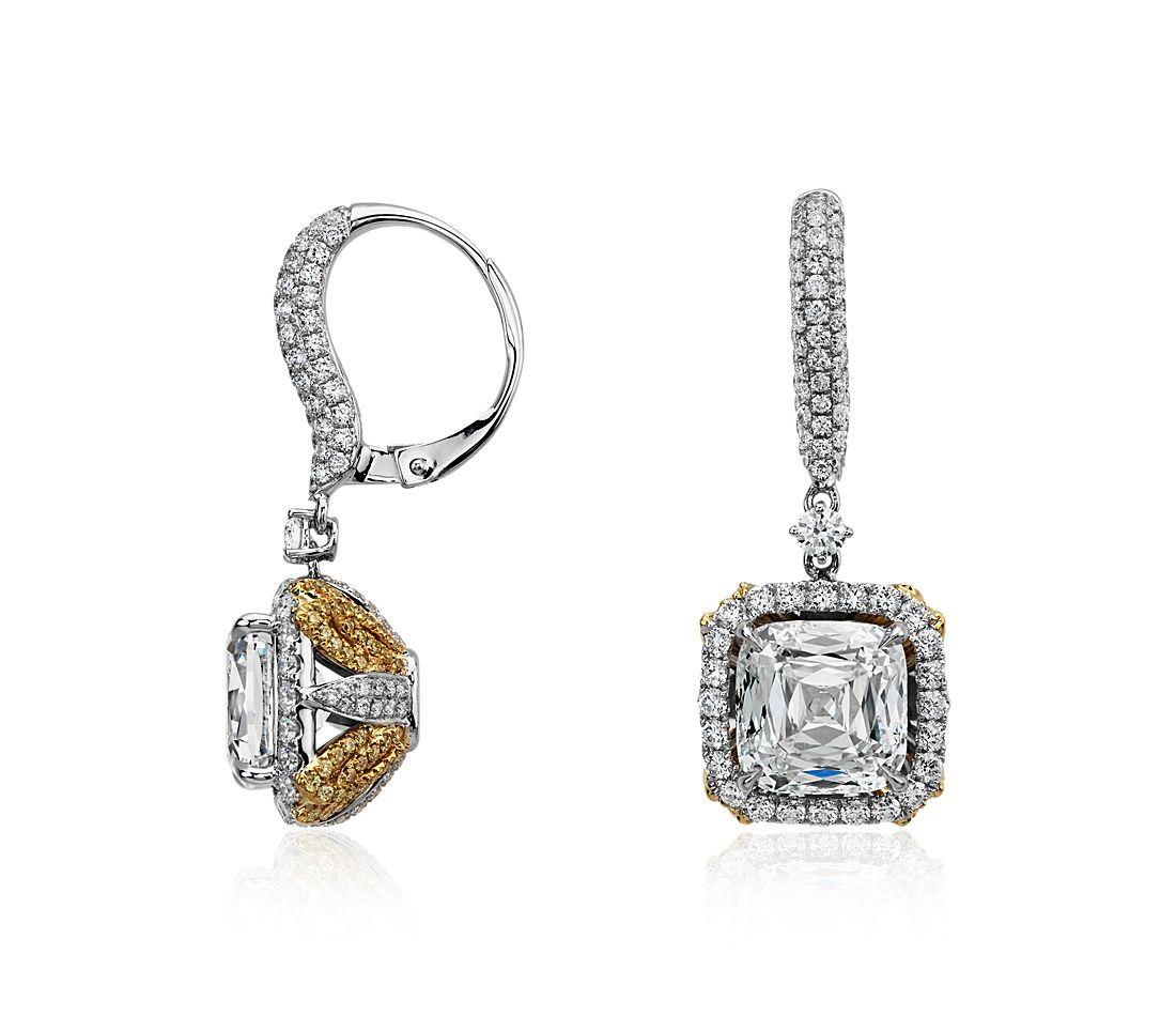 Modern Cushion and Pavé Diamond Halo Drop Earrings in 18k White and Yellow Gold (8.91 ct. tw.)