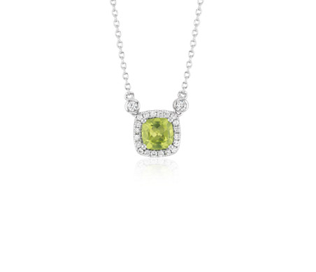Cushion Peridot White Topaz Halo Pendant in Sterling Silver (6mm)