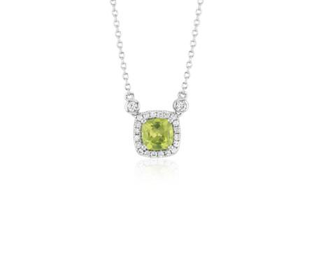 925 純銀 墊形橄欖石白色托帕石光環吊墜<br>( 6毫米)