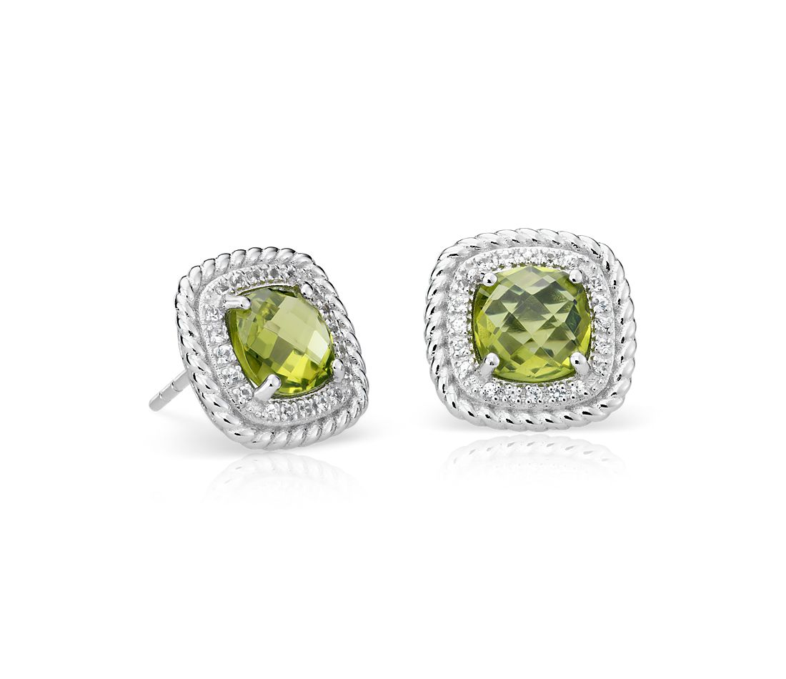 Corda Cushion-Cut Peridot Halo Earrings in Sterling Silver (8mm)